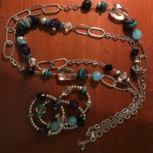 Chico's 2-strand Necklace w/ 3 Matching Bracelets